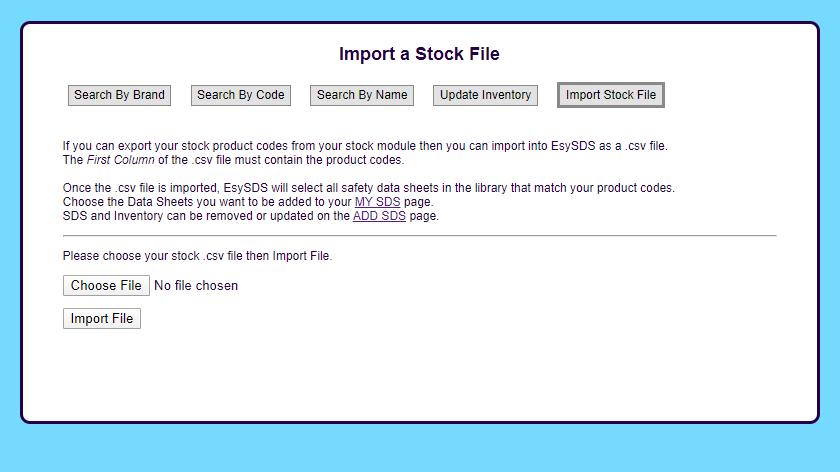 Screenshot import a stock inventory - EsySDS